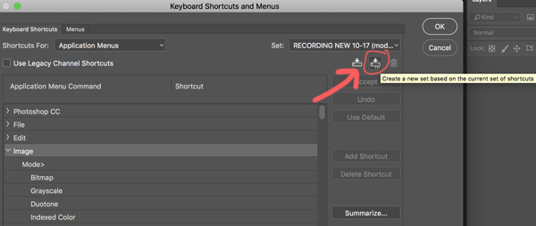 Create New shortcut set