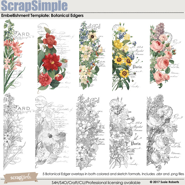 ScrapSimple Embellishment Templates: Botanical Edgers