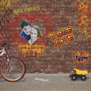 Scrapbook page featuring Feb 2018 SS Club Graffiti Heart