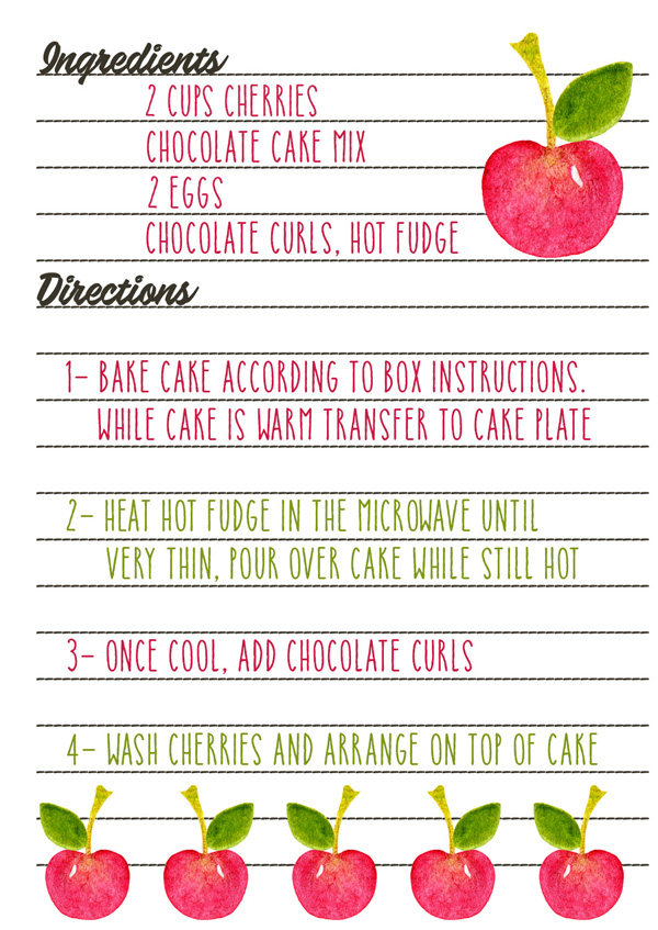 recipe greeting card back