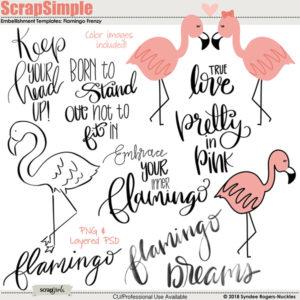 flamingo frenzy embellishment templates