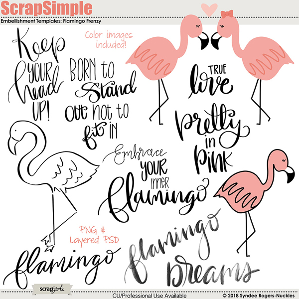 flamingo frenzy embellishment templates