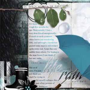 Rain dance digital scrapbook layout