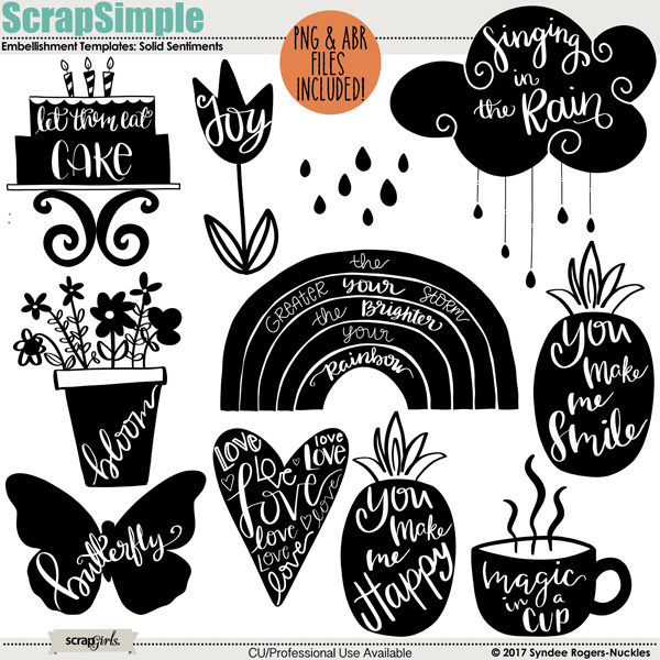 Solid Sentiments clip art and templates