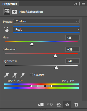 Adjusting the hue/saturation
