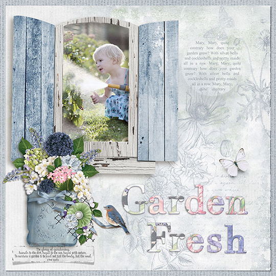 scrapbook page using May 2018 Club Summer Garden