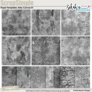 ScrapSimple Paper Templates: Artsy Canvas 01