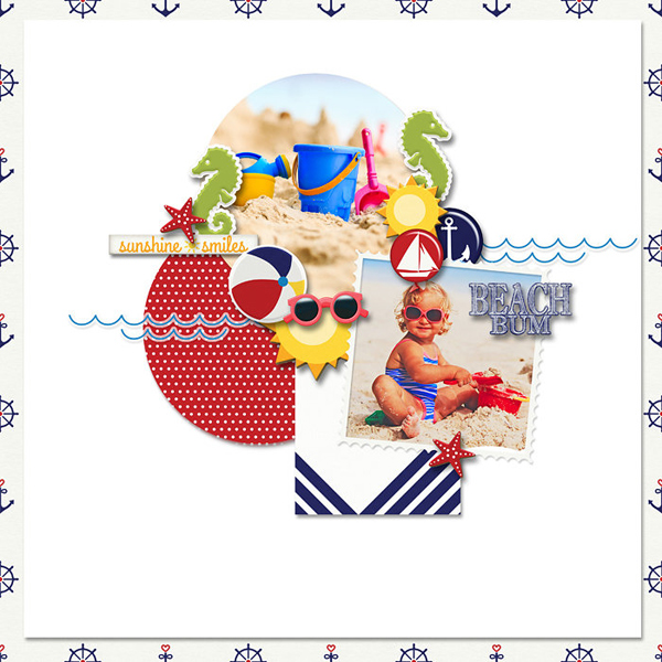Scrapbook page created with Beach Day digi kit