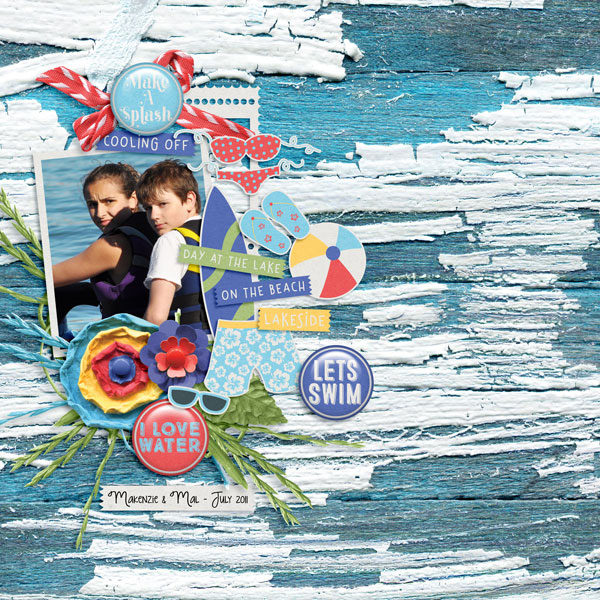 scrapbook page created with cooling off digi kit