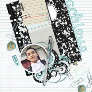 scrapbook page uses school basics digi kit
