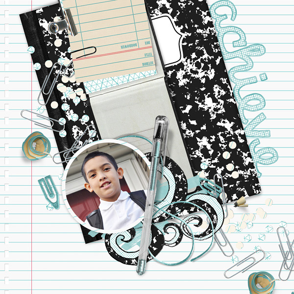 scrapbook page uses school basics digi kit