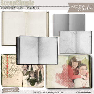 ScrapSimple Embellishment Templates: Open Books