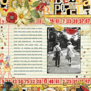 scrapbook page uses One, Two, Buckle My Shoe digi kit