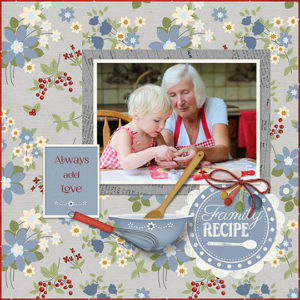 Scrapbook page created using Family Recipe SS Templates Club