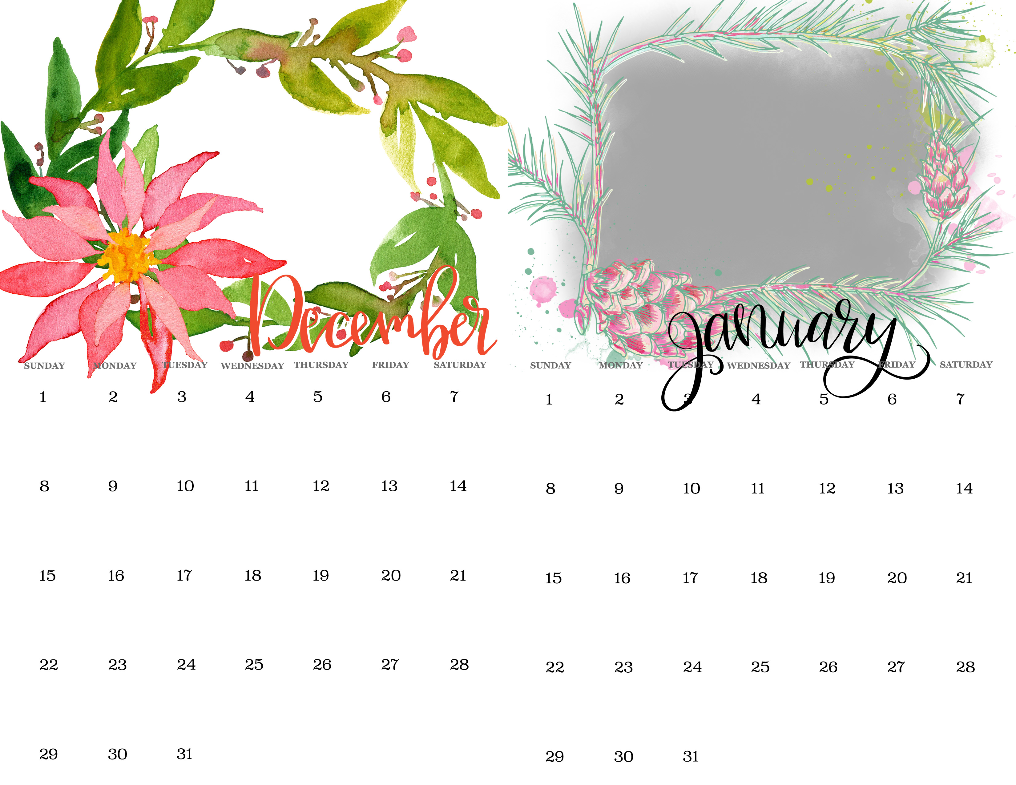watercolor calendar ideas