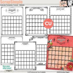 ScrapSimple Calendar Templates: Framed