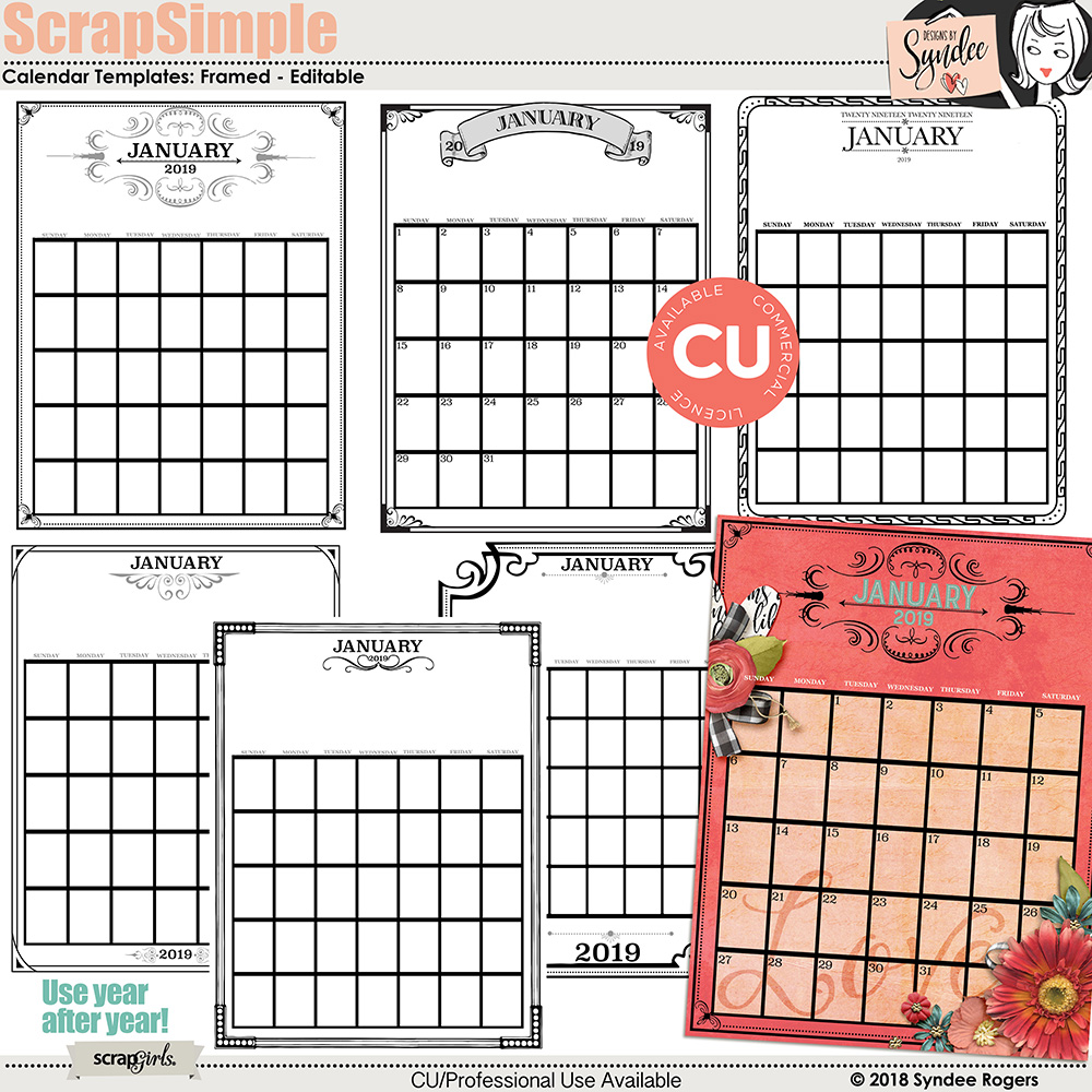 ScrapSimple Calendar Templates: Framed