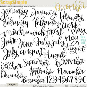 hand lettered months