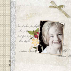 Scrapbook page uses Love Notes Digital Kit