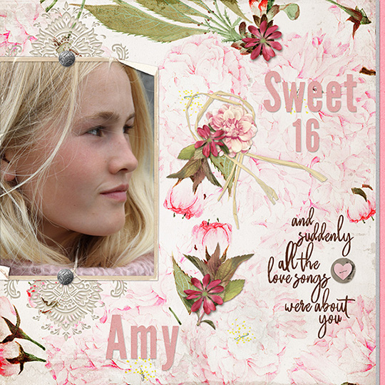 Layout using Love Notes digital kit