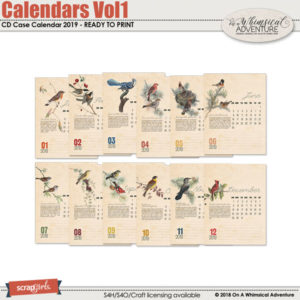 Calendars Vol1 2019 Calendar Pages For CD Case