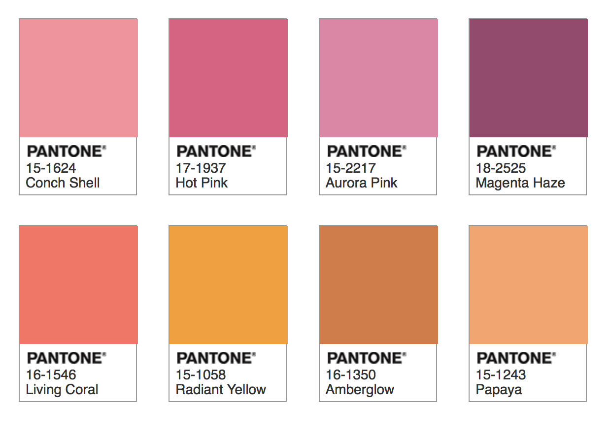 Pantone Color 2019 palette