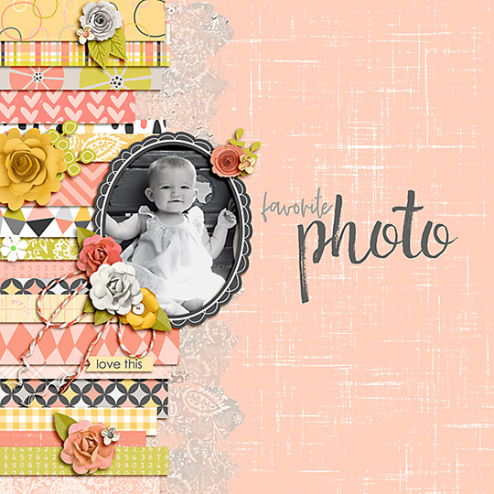 Scrapbook page using Just Peachy digital kit