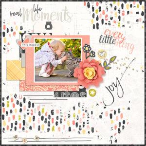 Scrapbook page using Just Peachy digital kit