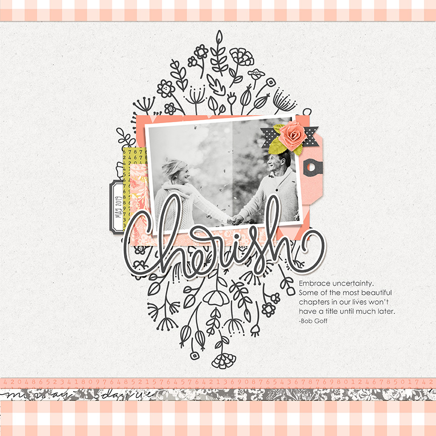 Scrapbook page created with Just Peachy Clusters