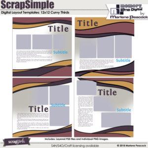 ScrapSimple Digital Layout Templates: Curvy Thirds