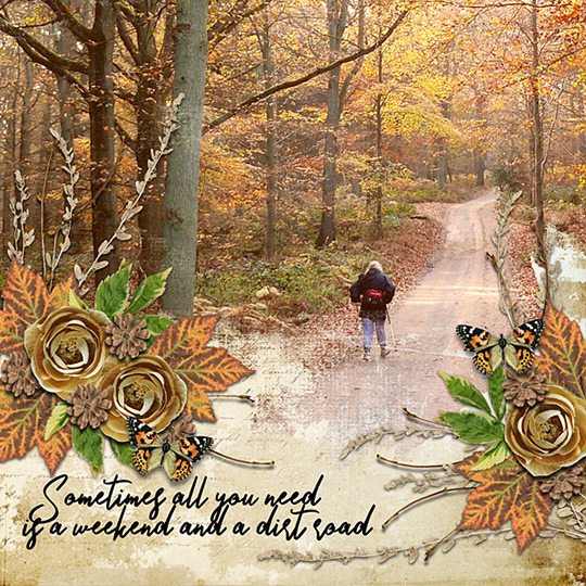Scrapbook page using Backroads digital kit by Carmel Munro
