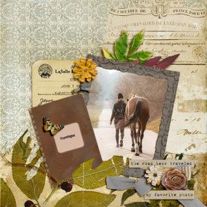 Scrapbook page using Backroads digital kit by Geraldine Touitou