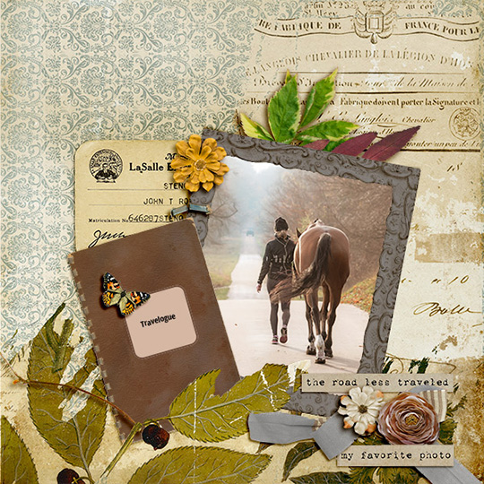 Scrapbook page using Backroads digital kit by Geraldine Touitou