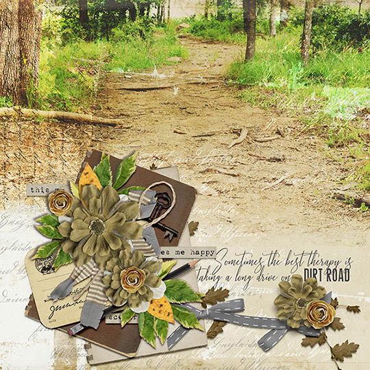 Scrapbook page using Backroads digital kit by Vikki Lamar