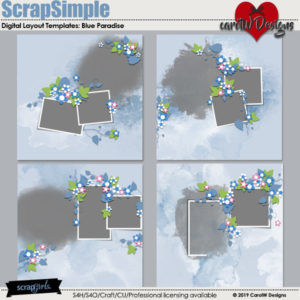 ScrapSimple Digital Layout Templates: Blue Paradise
