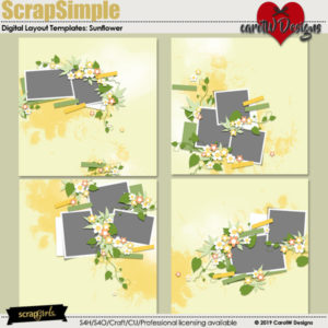 ScrapSimple Digital Layout Templates: Sunflower