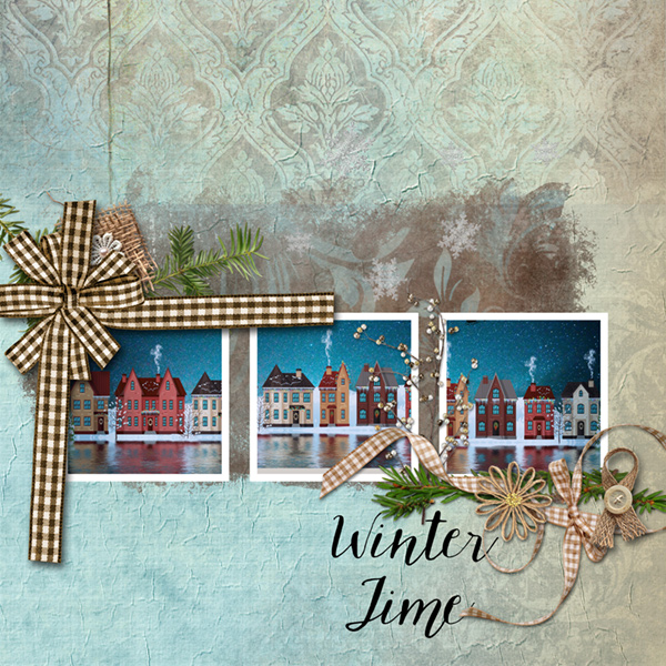layout using Winter Time Collection Biggie