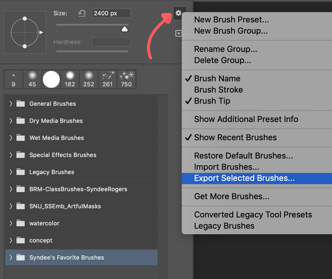 save favorite brushes in PS
