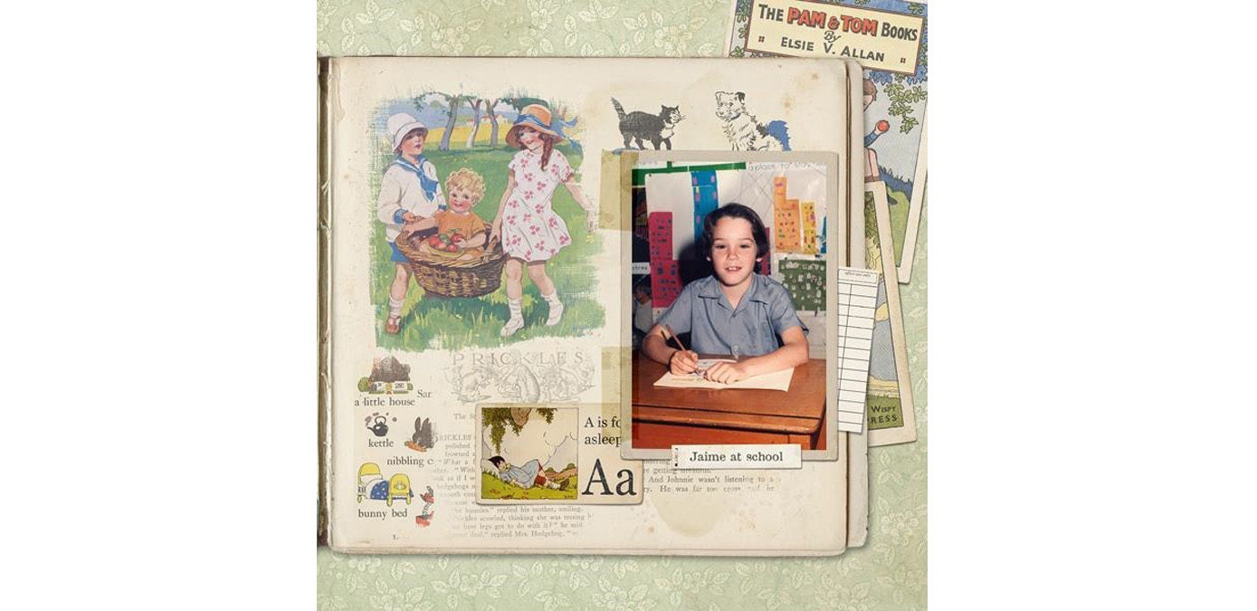 finished layout using Susie's Collage Paper tutorial